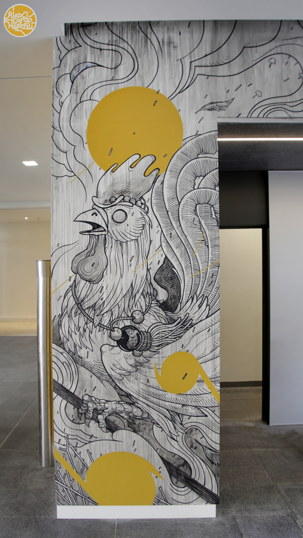 Mural done for the Amazon HQ Building in Madrid (Spain)