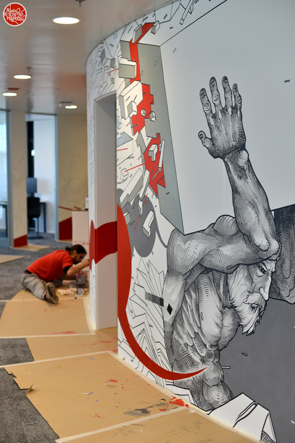 Mural at hi tech-software company Dynatrace new office in Barcelona.